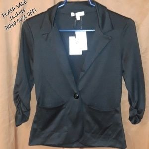 * About a Girl Suit Jacket Blazer Gathered Sleeves